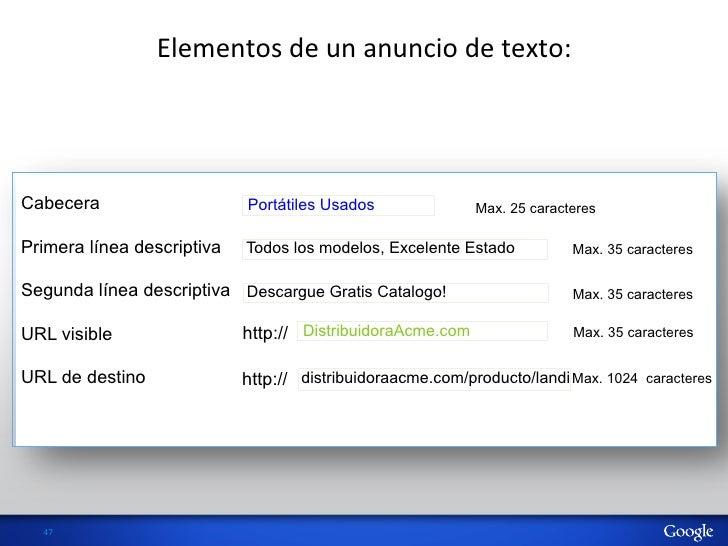 Elementos de un anuncio de texto: Cabecera                    Portátiles Usados               Max. 25 caracter...