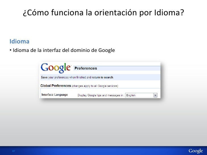 ¿Cómo funciona la orientación por Idioma? Idioma  • Idioma de la interfaz del dominio de ...