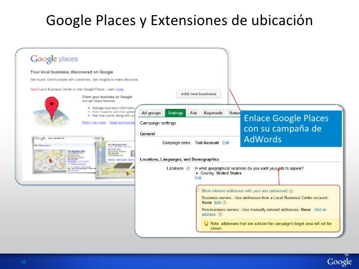 Google Places y Extensiones de ubicación                                                     Enlace Google ...