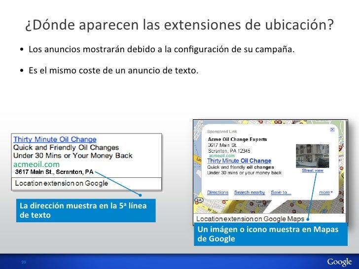 ¿Dónde aparecen las extensiones de ubicación?  •  Los anuncios mostrarán debido a la configura...
