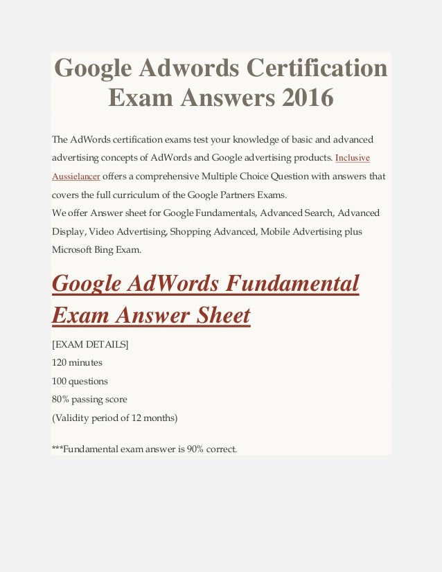 Google Adwords Certification Exam Answers 2016