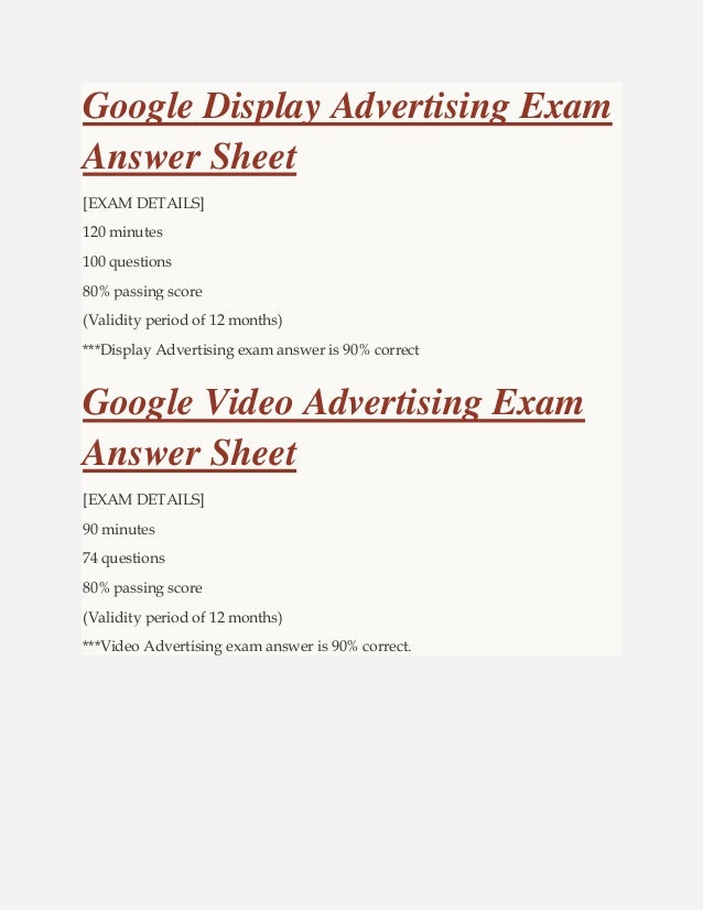 Adwords Certification Answers