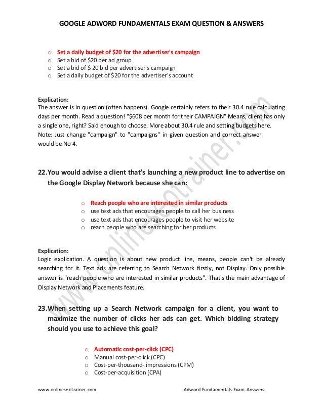 Adwords Certification Practice Test
