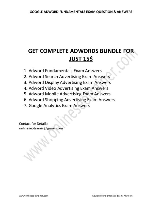 Google adwords fundamentals certification exam question and answers p…