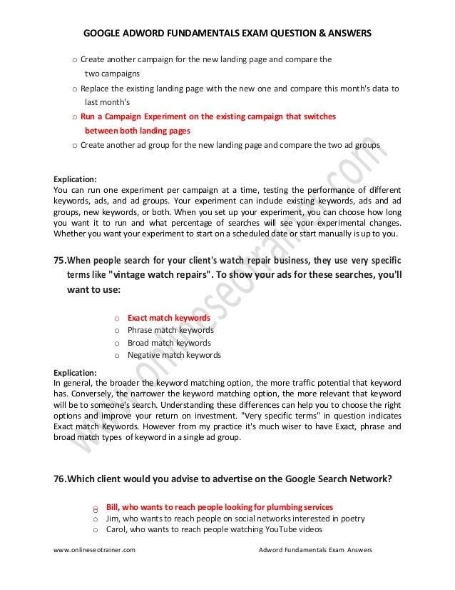 Google adwords fundamentals certification exam question ...