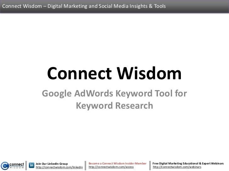 Connect Wisdom – Digital Marketing and Social Media Insights & Tools                    Connect Wisdom                 Goo...
