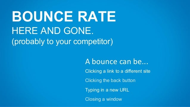 BOUNCE RATE HERE AND GONE. (probably to your competitor) A bounce can be... Clicking a link to a different site Clicking t...
