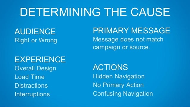 DETERMINING THE CAUSE EXPERIENCE Overall Design Load Time Distractions Interruptions PRIMARY MESSAGE Message does not matc...