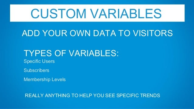 CUSTOM VARIABLES ADD YOUR OWN DATA TO VISITORS TYPES OF VARIABLES: Specific Users Subscribers Membership Levels REALLY ANY...