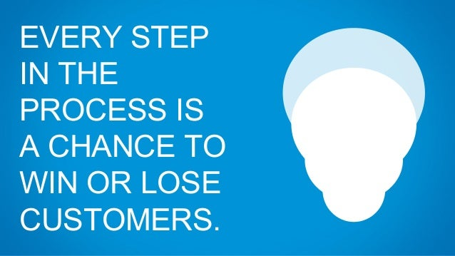 EVERY STEP IN THE PROCESS IS A CHANCE TO WIN OR LOSE CUSTOMERS.