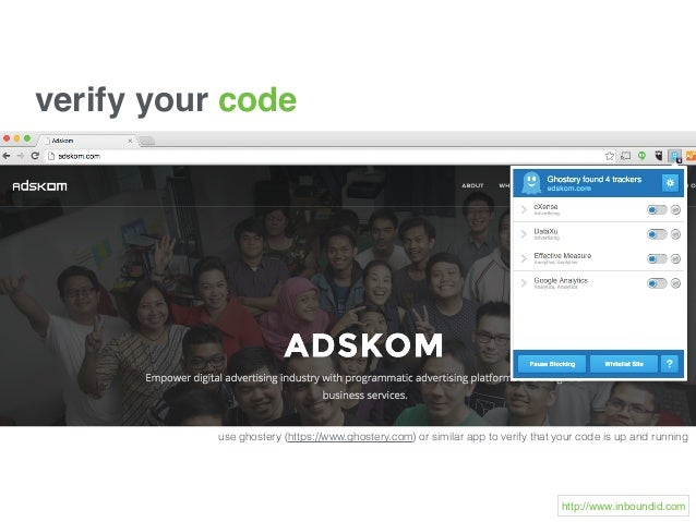 use ghostery (https://www.ghostery.com) or similar app to verify that your code is up and running verify your code http://...