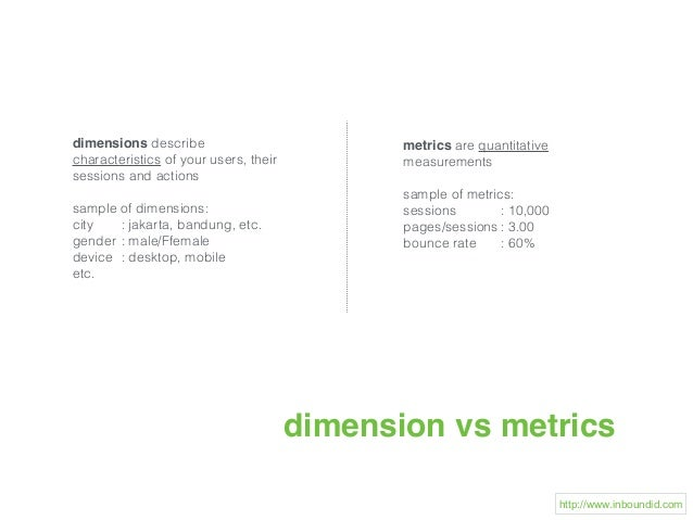 dimension vs metrics dimensions describe characteristics of your users, their sessions and actions sample of dimensions: c...