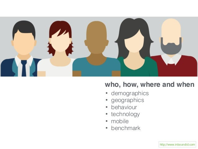 who, how, where and when • demographics • geographics • behaviour • technology • mobile • benchmark http://www.inboundid.c...