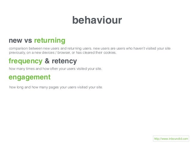 behaviour new vs returning comparison between new users and returning users. new users are users who haven't visited your ...
