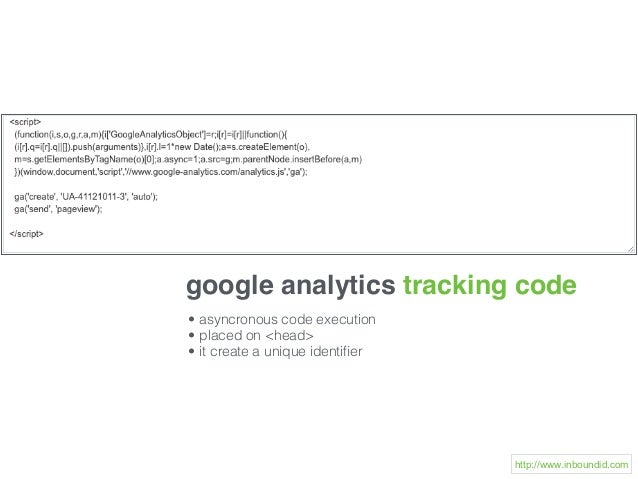 google analytics tracking code • asyncronous code execution • placed on <head> • it create a unique identifier http://www.i...