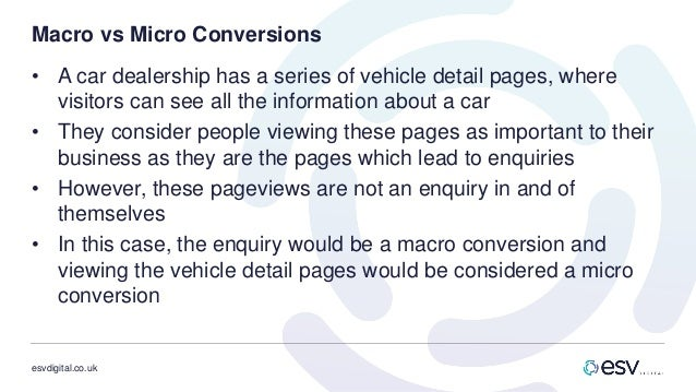 esvdigital.co.uk Macro vs Micro Conversions • A car dealership has a series of vehicle detail pages, where visitors can se...