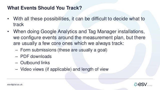 esvdigital.co.uk What Events Should You Track? • With all these possibilities, it can be difficult to decide what to track...