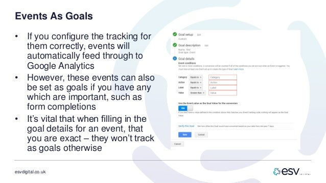 esvdigital.co.uk Events As Goals • If you configure the tracking for them correctly, events will automatically feed throug...