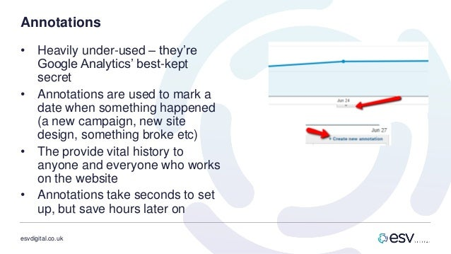 esvdigital.co.uk Annotations • Heavily under-used – they're Google Analytics' best-kept secret • Annotations are used to m...