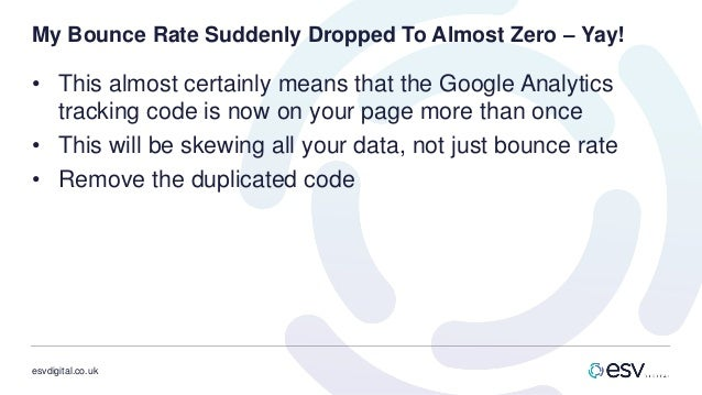 esvdigital.co.uk My Bounce Rate Suddenly Dropped To Almost Zero – Yay! • This almost certainly means that the Google Analy...