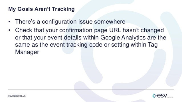 esvdigital.co.uk My Goals Aren't Tracking • There's a configuration issue somewhere • Check that your confirmation page UR...