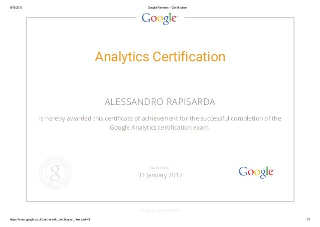 Google Analytics Certification 2015