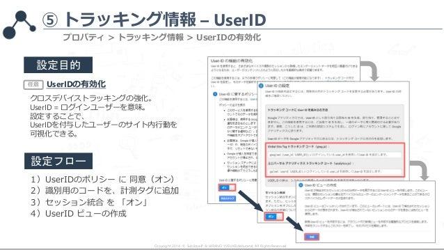 ⑤ トラッキング情報 – UserID Copyright 2014- © SublimeJP & HIRANO YUSUKE(debutete). All Rights Reserved. プロパティ > トラッキング情報 > UserIDの...