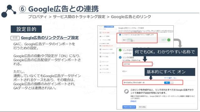 ⑥ Google広告との連携 何でもOK。わかりやすい名称で 設定目的 Google広告のリンクグループ設定 GAに、Google広告データのインポートを 行うための設定。 Google広告の自動タグ設定が「ON」になり、 Google広告の広...