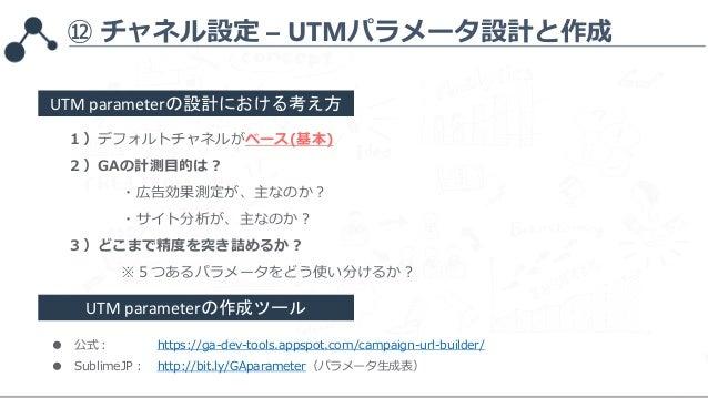 ⑫ チャネル設定 – UTMパラメータ設計と作成 1)デフォルトチャネルがベース(基本) 2)GAの計測目的は? ・広告効果測定が、主なのか? ・サイト分析が、主なのか? 3)どこまで精度を突き詰めるか? ※5つあるパラメータをどう使い分けるか...