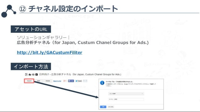 ⑫ チャネル設定のインポート ソリューションギャラリー  広告分析チャネル(for Japan, Custum Chanel Groups for Ads.) http://bit.ly/GACustumFiliter アセットのURL インポ...