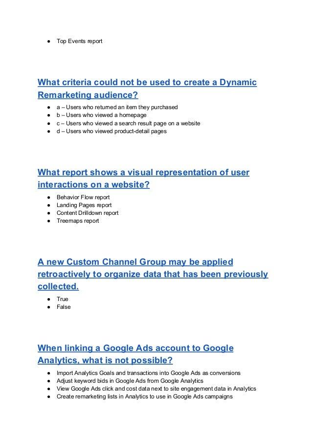 Google analytics individual qualification exam answers 2018