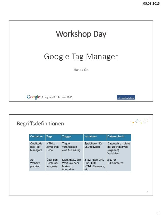 05.03.2015 1 Hands-On Google Tag Manager Workshop Day Begriffsdefinitionen 2 Container Tags Trigger Variablen Datenschicht...