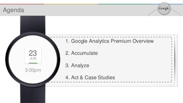 3:00pm 23 JUN 1. Google Analytics Premium Overview 2. Accumulate 3. Analyze 4. Act & Case Studies Agenda
