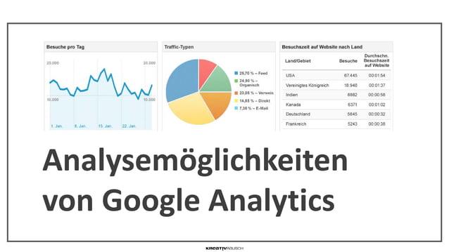 AGENDA Analysemöglichkeiten von Google Analytics