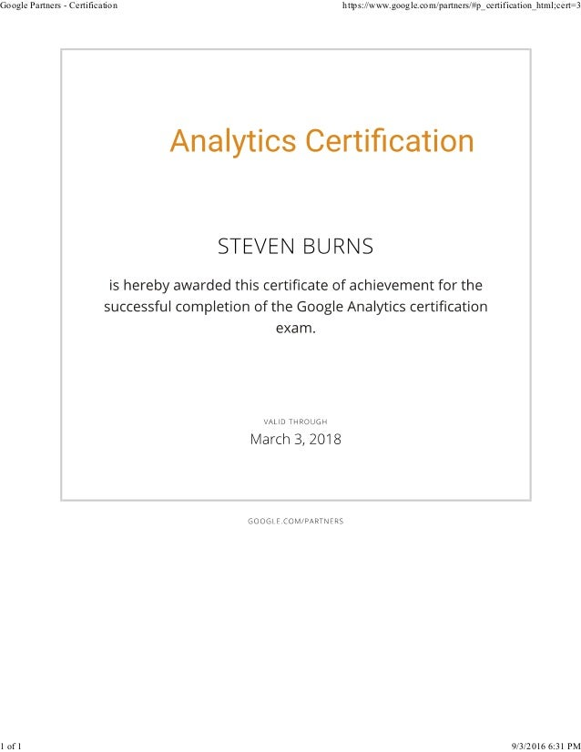 Preston Burns Google Analytics Iq Certificate