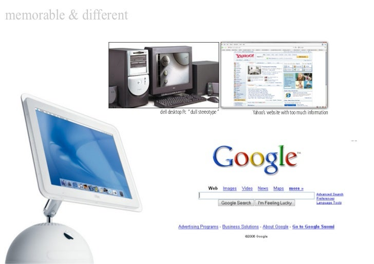 """memorable & different                             dell desktop Pc """" dull stereotype """"   Yahoo's website with too much info..."""
