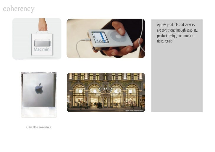 coherency             Apple's products and services             are consistent through usability,             product desi...