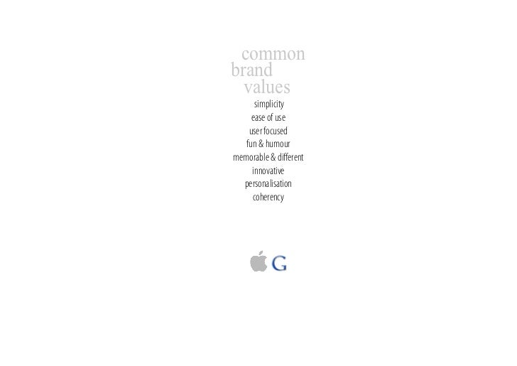 common brand   values       simplicity      ease of use     user focused    fun & humour memorable & different      innovat...
