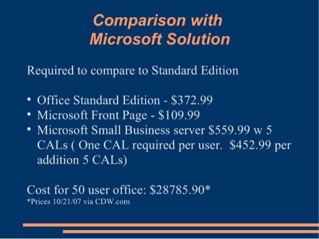 Comparison with Microsoft Solution  Required to compare to Standard Edition  ° Office Standard Edition — $372.99  ° Micros...