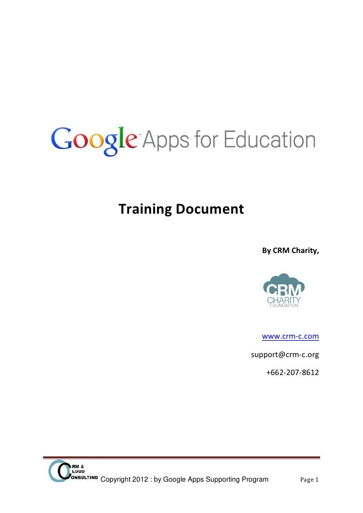 Training Document                                                By CRM Charity,                                          ...