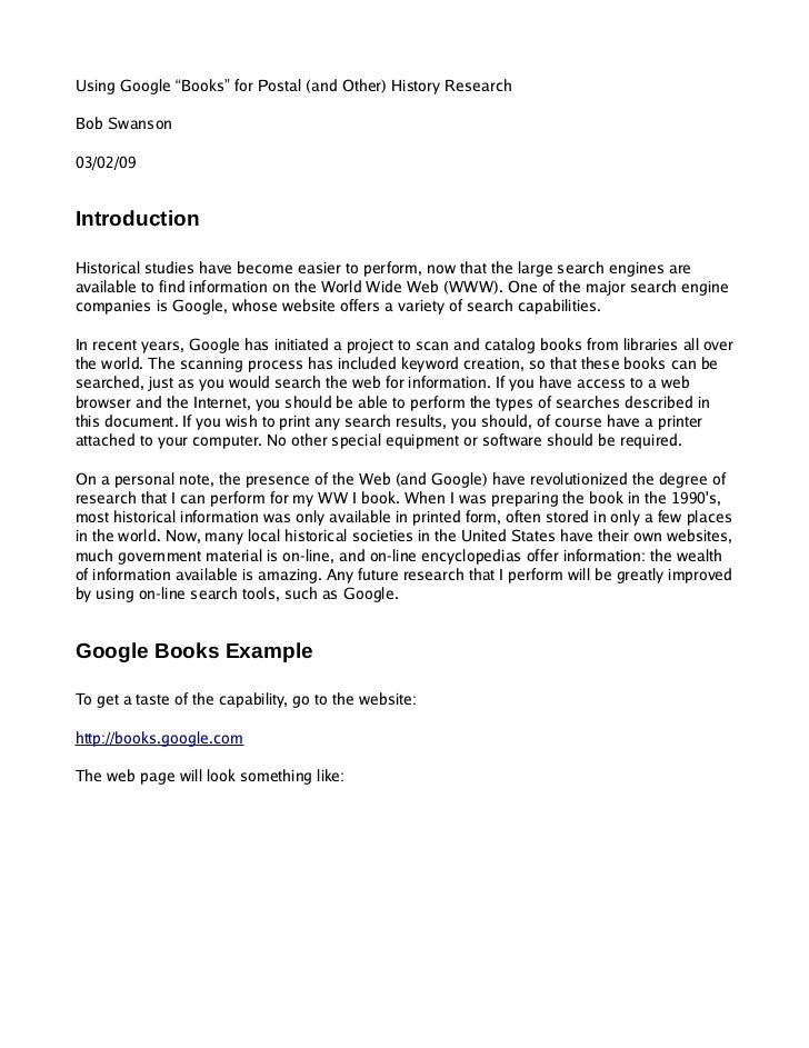 """Using Google """"Books"""" for Postal (and Other) History Research  Bob Swanson  03/02/09   Introduction  Historical studies hav..."""
