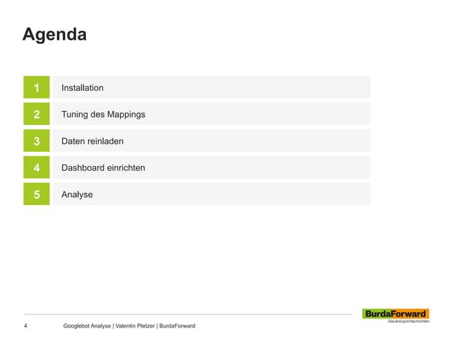 Agenda 4 Googlebot Analyse | Valentin Pletzer | BurdaForward Installation Tuning des Mappings 1 2 Daten reinladen3 Dashboa...