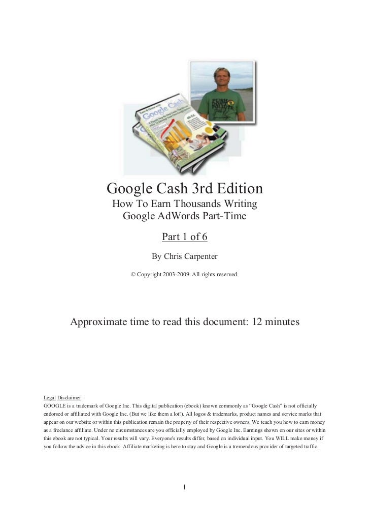 Google Cash 3rd Edition                                How To Earn Thousands Writing                                  Goog...