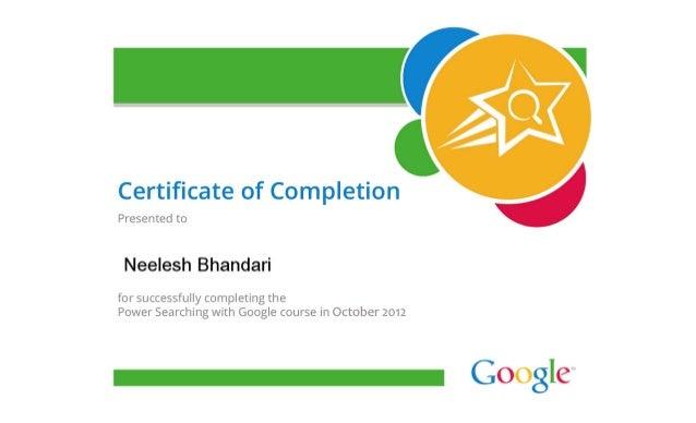 Google certificate in power searching For Dr Neelesh Bhandari