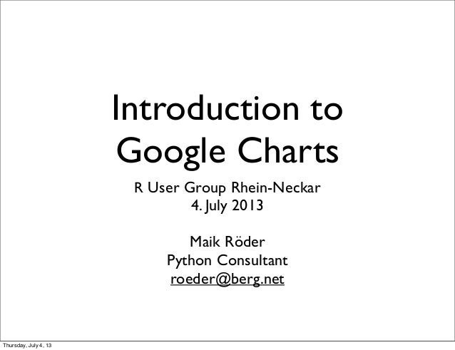 Introduction to Google Charts R User Group Rhein-Neckar 4. July 2013 Maik Röder Python Consultant roeder@berg.net Thursday...
