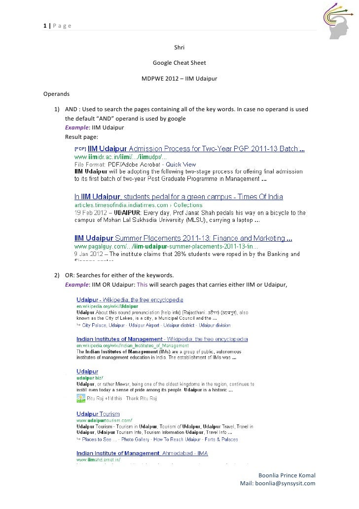 1|Page                                               Shri                                       Google Cheat Sheet        ...