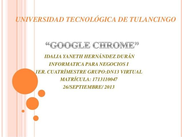 UNIVERSIDAD TECNOLÓGICA DE TULANCINGO IDALIA YANETH HERNÁNDEZ DURÁN INFORMATICA PARA NEGOCIOS I 1ER. CUATRÍMESTRE GRUPO:DN...