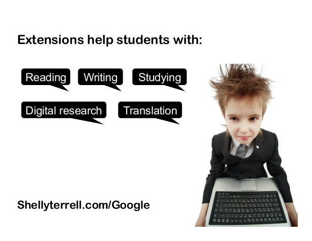 Shellyterrell.com/Google StudyingReading Digital research Writing Translation Extensions help students with: