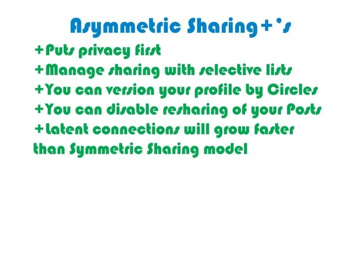 Good	  things	  about	  asymmetric	  sharing	     in	  Google	  Plus's	  Circles:	  privacy,	   management,	  version	  yo...