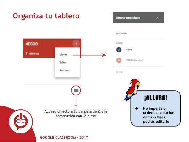 GOOGLE CLASSROOM · 2017 Organiza tu tablero Acceso directo a tu carpeta de Drive compartida con la clase ¡AL LORO! ➔ No im...